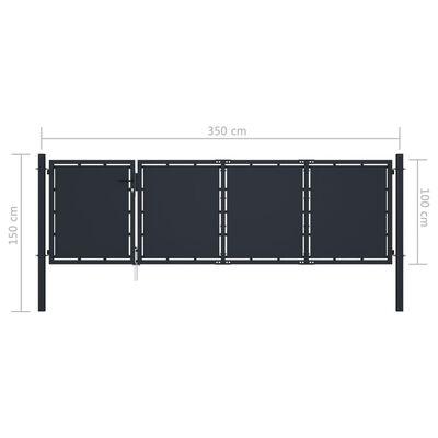 vidaXL Poartă de grădină, antracit, 350 x 100 cm, oțel
