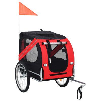 vidaXL Remorcă de bicicletă pentru câini, roșu și negru