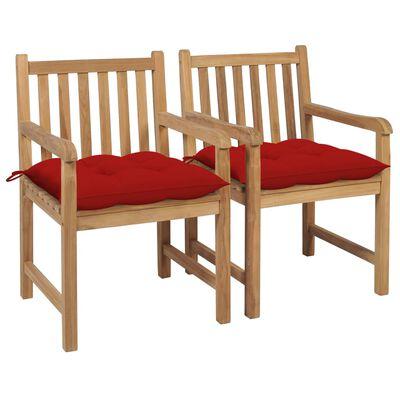 vidaXL Scaune de grădină cu perne roșii, 2 buc., lemn masiv de tec
