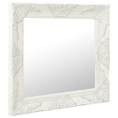 vidaXL Oglindă de perete în stil baroc, alb, 60 x 60 cm