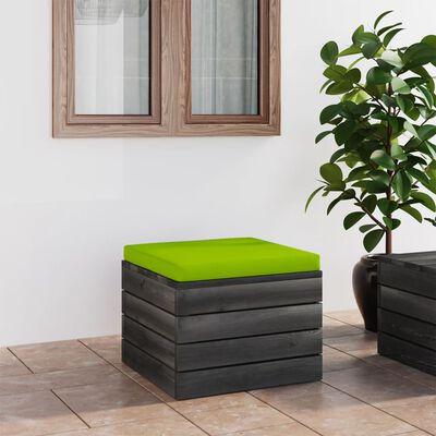 vidaXL Taburet de grădină din paleți cu pernă, lemn de pin