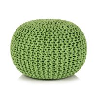 vidaXL Puf tricotat manual, bumbac, 50 x 35 cm, verde
