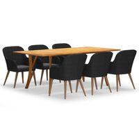 vidaXL Set de masă pentru grădină, 7 piese, negru
