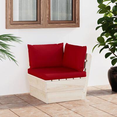 vidaXL Canapea colțar de grădină din paleți cu perne lemn molid tratat