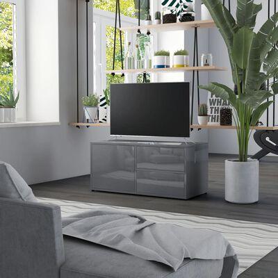 vidaXL Comodă TV, gri extralucios, 80 x 34 x 36 cm, PAL