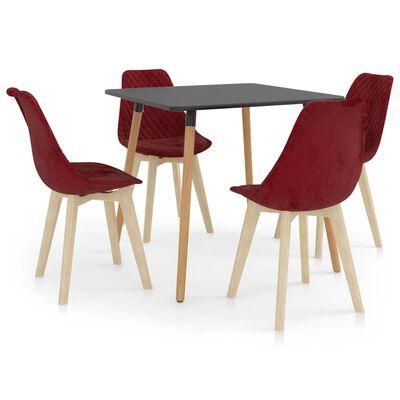 vidaXL Set de masă, 5 piese, roșu vin