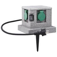vidaXL Priză de grădină cu senzor crepuscular, plastic