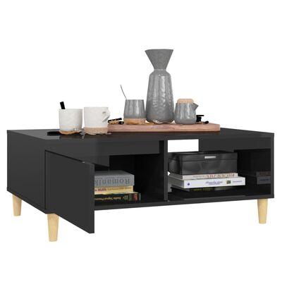 vidaXL Măsuță de cafea, negru extralucios, 90x60x35 cm, PAL