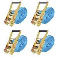 vidaXL Chingi fixare cu clichet, 4 buc, 4 tone, 8 m x 50 mm, albastru