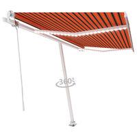 vidaXL Copertină automată senzor vânt/LED portocaliu/maro, 450x300 cm