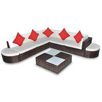vidaXL Set mobilier de grădină cu perne, 8 piese, maro, poliratan