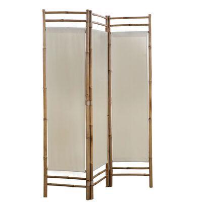 vidaXL Paravan de cameră cu 3 panouri, pliabil, bambus și pânză, 120 cm