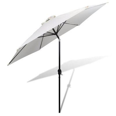 Umbrelă de soare cu stâlp din oțel 3m, alb nisipiu