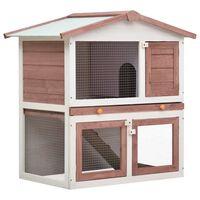vidaXL Cușcă de iepuri pentru exterior, 3 uși, maro, lemn
