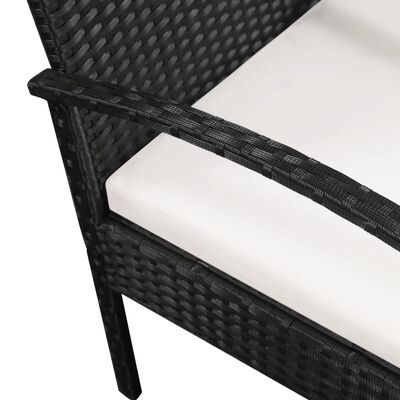 vidaXL Canapea de grădină cu 3 locuri, cu perne, negru, poliratan