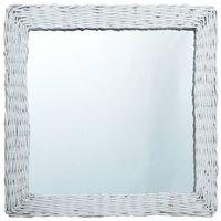 vidaXL Oglindă, alb, 60 x 60 cm, răchită