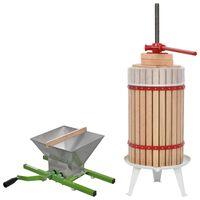 vidaXL Set de presă și zdrobitor de fructe & vin, 2 piese