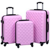 vidaXL Set de valize cu carcasă rigidă, 3 piese, roz, ABS