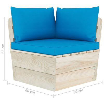 vidaXL Canapea de grădină din paleți, 3 locuri, cu perne, lemn molid