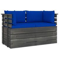 vidaXL Canapea grădină din paleți cu perne, 2 locuri, lemn masiv pin