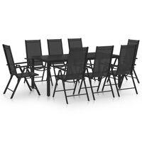 vidaXL Set mobilier de grădină, 9 piese, negru, aluminiu