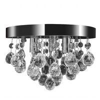Candelabru cu cristale, design cromat
