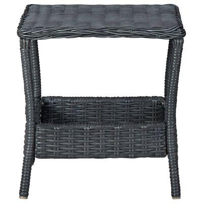 vidaXL Set mobilier de grădină cu perne 2 piese gri închis poliratan