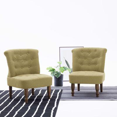 vidaXL Scaun stil franțuzesc, verde, material textil