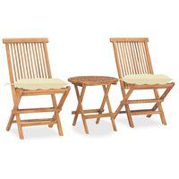 vidaXL Set mobilier pliabil exterior cu perne, 3 piese, lemn masiv tec