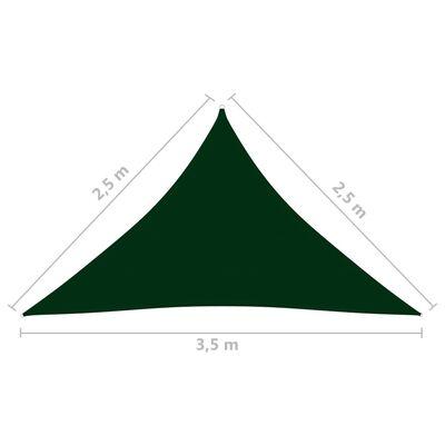 vidaXL Parasolar, verde, 2,5x2,5x3,5 m, țesătură oxford, triunghiular