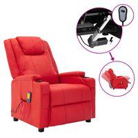 vidaXL Fotoliu de masaj rabatabil electric, roșu, piele ecologică