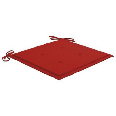vidaXL Perne scaun de grădină, 6 buc., roșu, 40x40x4 cm, textil