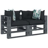vidaXL Canapea de grădină paleți, 2 locuri, perne antracit/flori, lemn