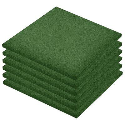 vidaXL Plăci de protecție la cădere, 6 buc, verde, 50x50x3 cm, cauciuc