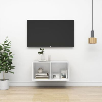 vidaXL Dulap TV montat pe perete, alb extralucios, 37x37x72 cm, PAL