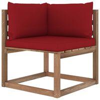 vidaXL Canapea de grădină din paleți colțar, perne roșu vin