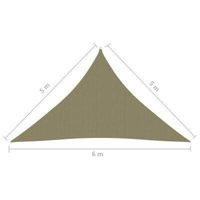 vidaXL Parasolar, bej, 5x5x6 m, țesătură oxford, triunghiular