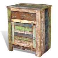 vidaXL Masă de capăt cu 1 sertar și 1 ușă, lemn reciclat
