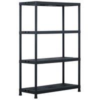 vidaXL Raft de depozitare, negru, 90 x 40 x 138 cm, plastic, 220 kg