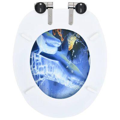vidaXL Capac WC cu închidere silențioasă, MDF, design delfini