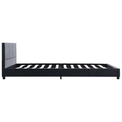 vidaXL Cadru de pat, negru, 140 x 200 cm, piele ecologică
