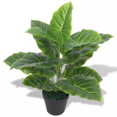 vidaXL Plantă artificială Taro cu ghiveci, 45 cm, verde