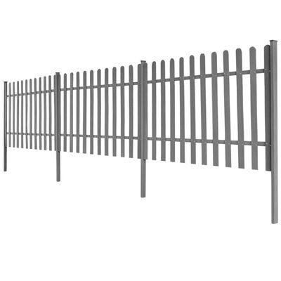vidaXL Gard din șipci cu stâlpi, 3 buc., 600 x 120 cm, WPC