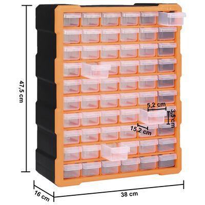 vidaXL Organizator cu 60 de sertare, 38 x 16 x 47,5 cm