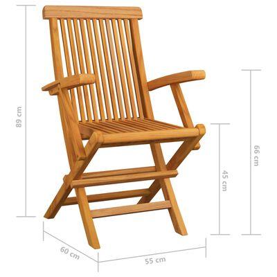vidaXL Scaune de grădină cu perne, 6 buc., gri, lemn masiv de tec