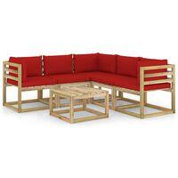 vidaXL Set mobilier de grădină cu perne, 6 piese, lemn de pin tratat