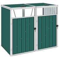 vidaXL Magazie pubele dublă, verde, 143 x 81 x 121 cm, oțel