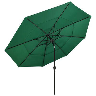 vidaXL Umbrelă de soare 3 niveluri, stâlp de aluminiu, verde, 3,5 m