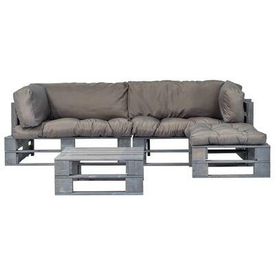 vidaXL Set mobilier de grădină din paleți cu perne gri, 4 piese, lemn