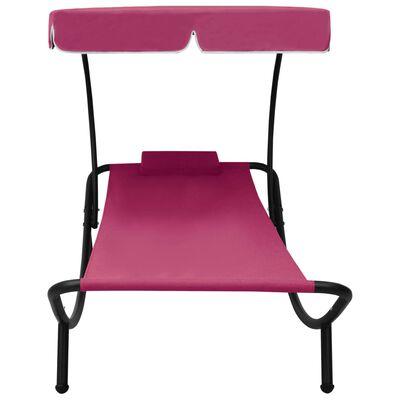 vidaXL Pat șezlong de exterior cu baldachin și pernă, roz